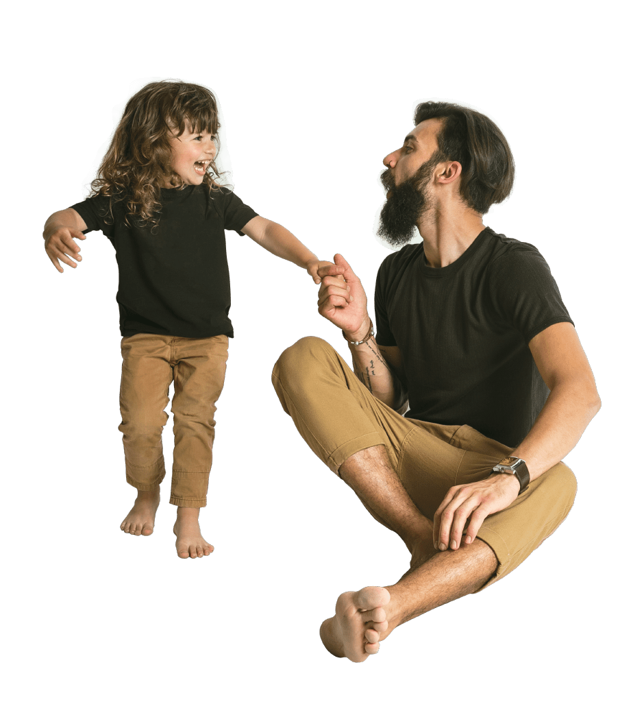 Father and child being happy after Grey Matters Services