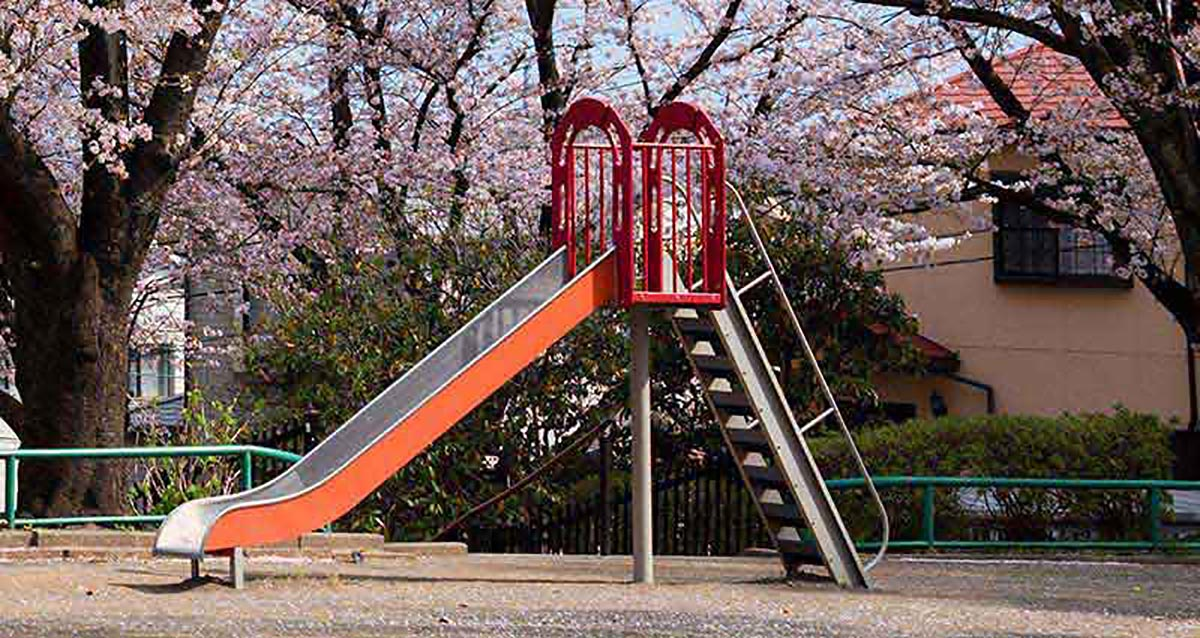 lonely slide on playground shut down due to covid