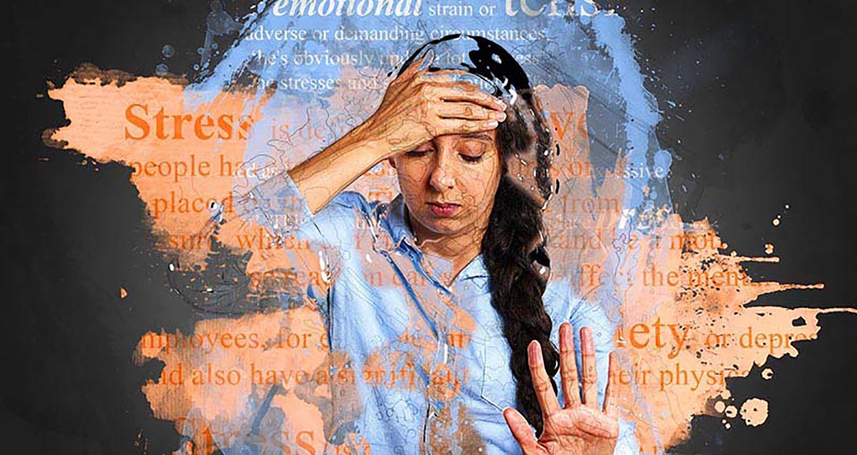 girl holding her head with her hand surrounded by words