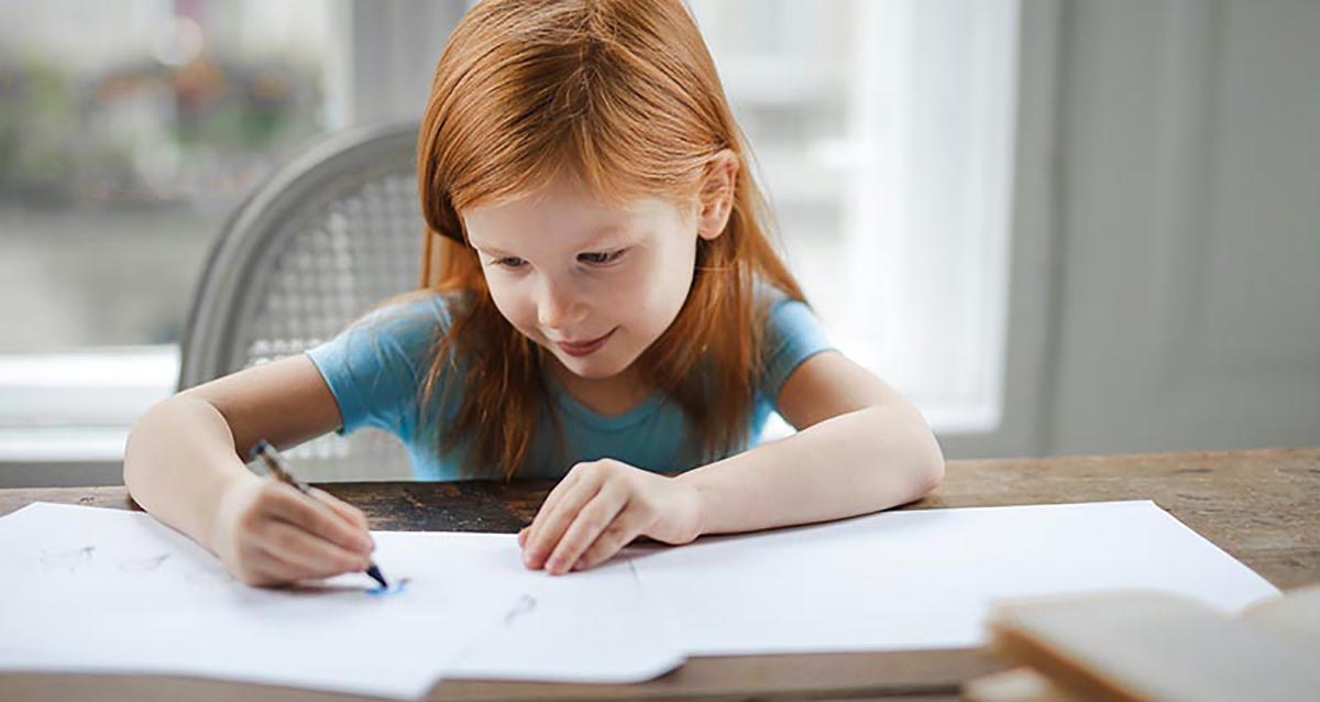 young child dealing with aparixa while doing homework